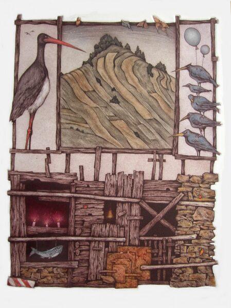 ptaki balony, wzgórze pejzaż pola drewniana chata surrealizm szadkowski akwaforta