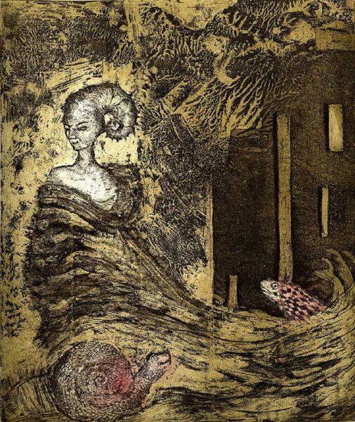 surrealizm dama fala ślimak ryba chmury purzycka akwatinta