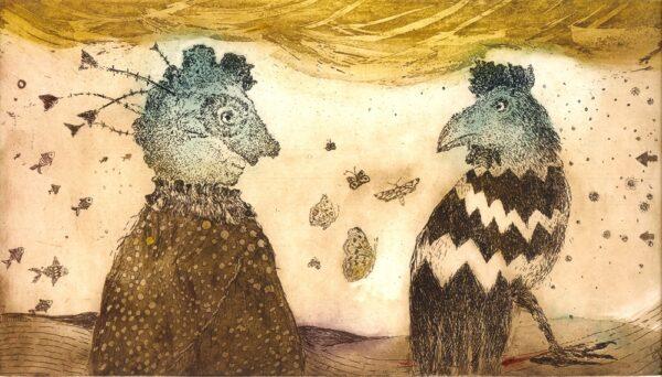 rajskie ptaki dziwne stwory surrealizm purzycka wklęsłodruk