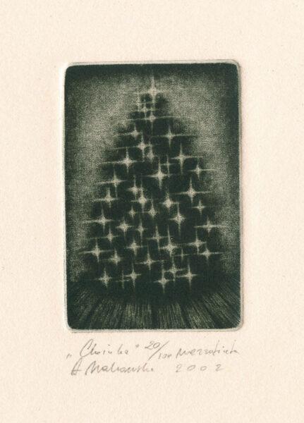 choinka święta boże narodzenie makowska mezzotinta