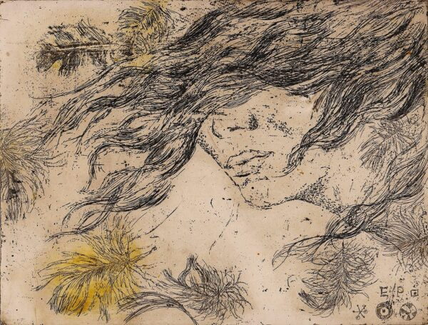 wiatr we włosach podmuchy wiatru babie lato portret kobiety purzycka wklęsłodruk
