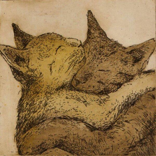 dwa koty kociarze przytulanie miłość przyjaźń ciepło kot purzycka wklęsłodruk