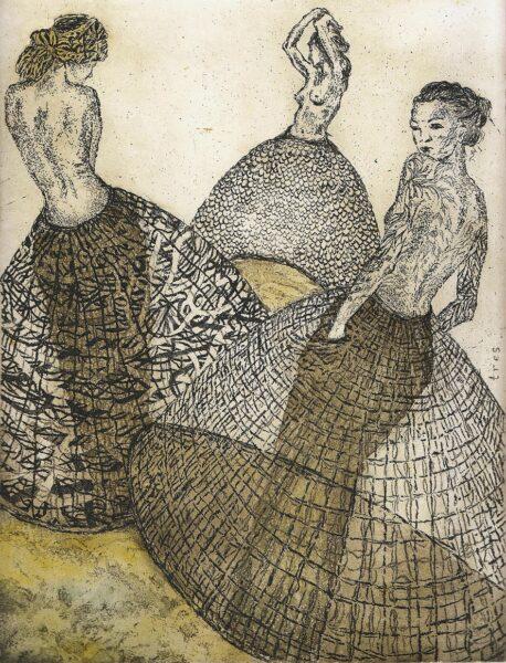 modelki kobiety suknie spódnice akt purzycka wklęsłodruk