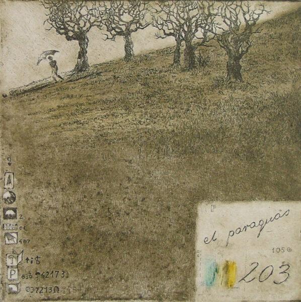 deszczowa pogoda zbocze drzewa oliwne dżdżysto purzycka wklęsłodruk