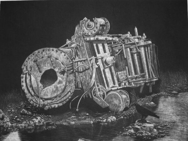 wrak maszyny mechanizm rozkład melancholia kruk na kamieniu nad brzebiem rzeki metafora nowicki mezzotinta