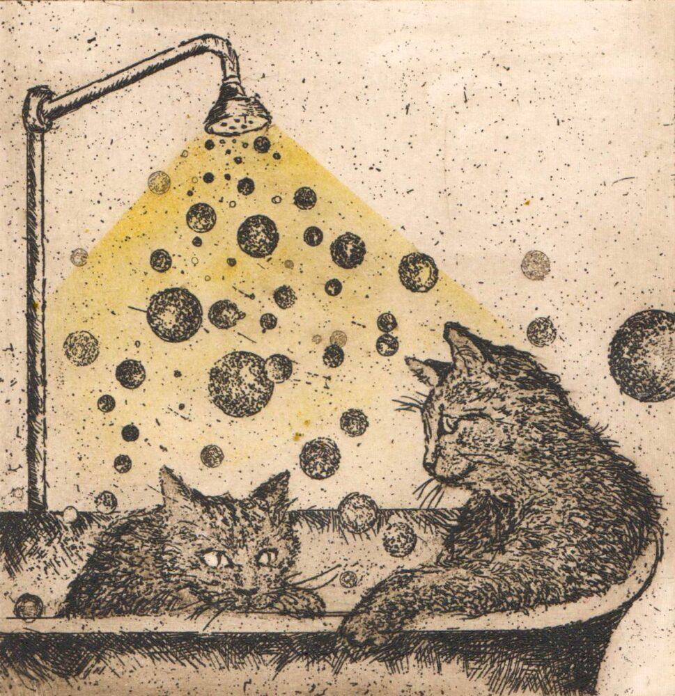 Koteczki, wanna i bąbelki